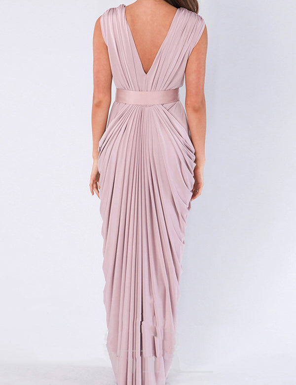 Sheath Vneck Floor Length Ruched Blush Bridesmaid Dress with Sash - ericprom