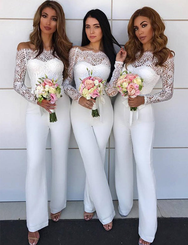 Off the Shoulder Long Sleeves White Bridesmaid Jumpsuit with Lace - ericprom