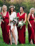 Sheath Vneck Red Ruched Floor Length Bridesmaid Dress - ericprom