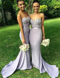 Mermaid Sweetheart Lavender Long Bridesmaid Dress with Appliques