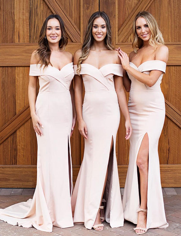 Mermaid Off the Shoulder Sweep Train Pink Bridesmaid Dress with Split