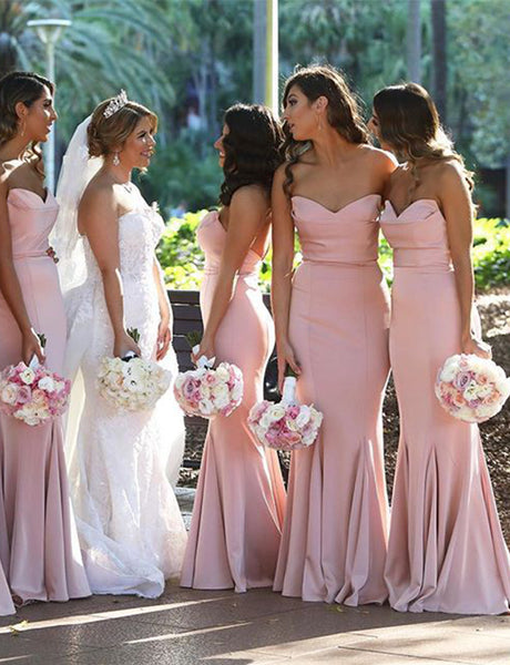 Mermaid Sweetheart Sweep Train Pink Bridesmaid Dress