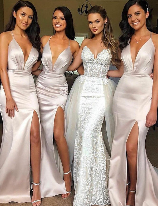 Mermaid Spaghetti Straps Ivory Long Bridesmaid Dress with Split - ericprom