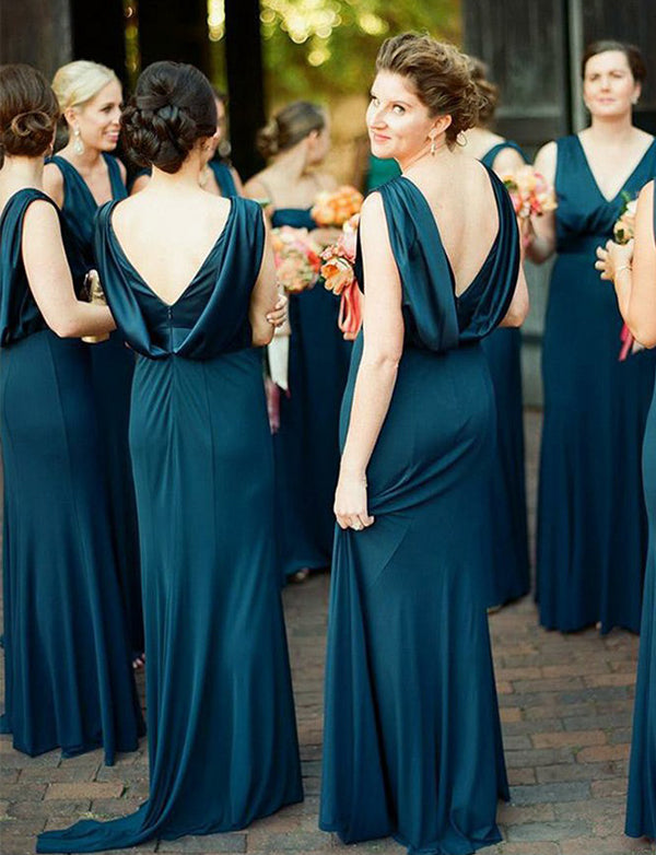 Sheath Vneck Sweep Train Dark Blue Bridesmaid Dress - ericprom