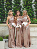 A-Line One Shoulder Rose Gold Sequined Sparkly Long Bridesmaid Dress - ericprom