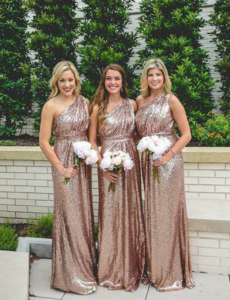 A-Line One Shoulder Rose Gold Sequined Sparkly Long Bridesmaid Dress