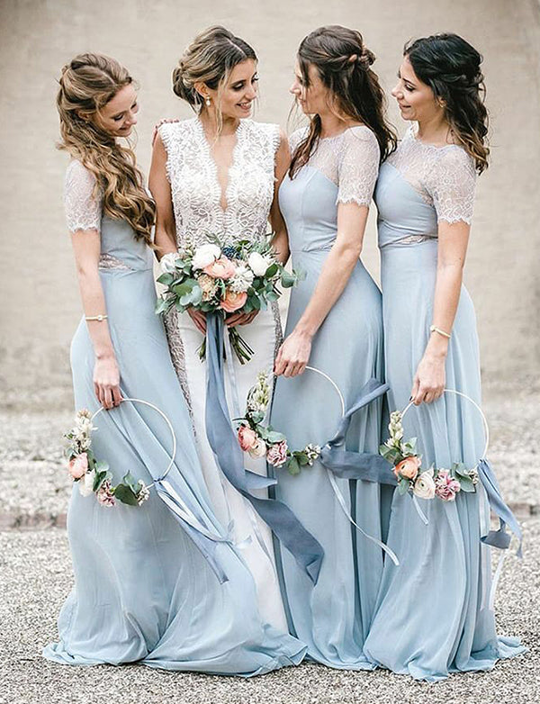 Sheath Round Neck Short Sleeves Light Blue Long Bridesmaid Dress with Lace - ericprom