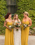 A-Line Spaghetti Straps Floor Length Yellow Chiffon Bridesmaid Dress - ericprom