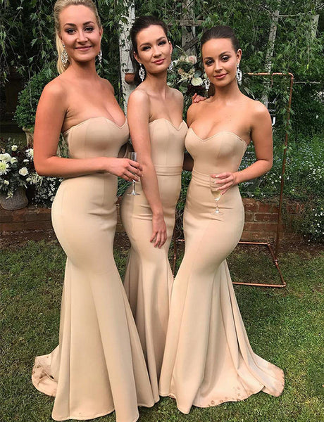 Mermaid Sweetheart Champagne Satin Floor Length Bridesmaid Dress
