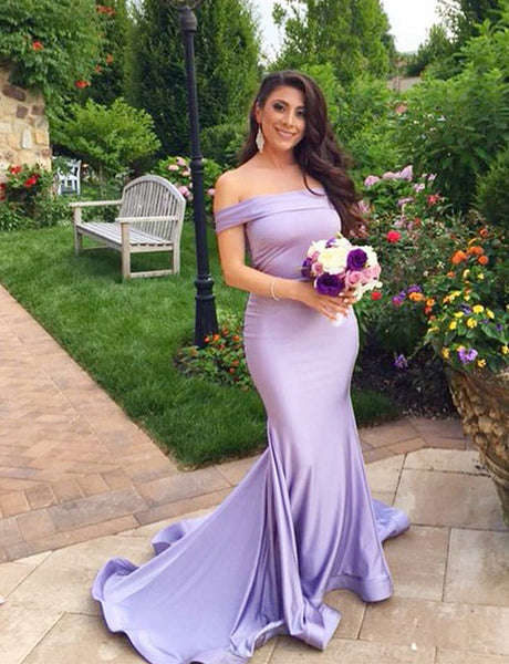 Mermaid Off the Shoulder Sweep Train Lilac Bridesmaid Dress