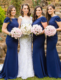 Mermaid Crew Backless Royal Blue Bridesmaid Dress with Pearls Long Bridesmaid Dress - ericprom