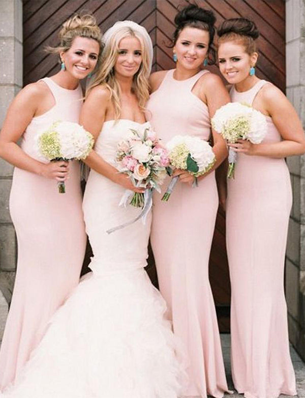 Elegant Sheath Jewel Floor-Length Pink Bridesmaid Dress Long Wedding Party Dress - ericprom