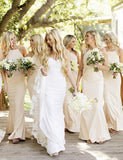 Halter Long Bridesmaid Dress with Appliques Mermaid Wedding Party Dress - ericprom