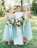 Affordable A-Line Square Ankle-Length Tulle Light Blue Bridesmaid Dress - ericprom