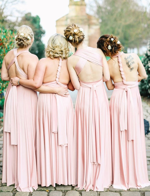 Convertible Criss-Cross Straps Long Bridesmaid Dress Pink Wedding Party Dress - ericprom