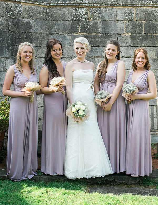 Simple A-Line V-Neck Lilac Bridesmaid Dress Long Wedding Party Dress - ericprom