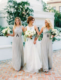 Mismatched A-Line Halter Sleeveless Chiffon Long Light Grey Bridesmaid Dress - ericprom