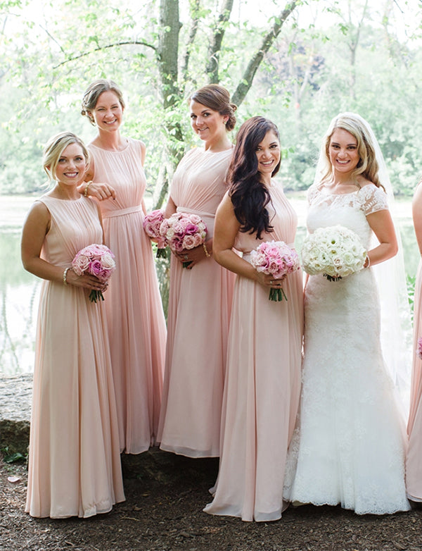 Plus Size A-Line Jewel Floor-Length Chiffon Pink Bridesmaid Dress with Belt - ericprom