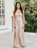 Spaghetti Straps Long Champagne Bridesmaid Dress Sequin Bridesmaid Gown - ericprom