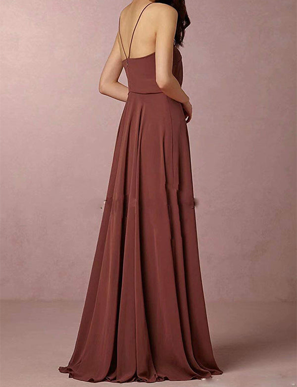 Summer A-Line Spaghetti Straps Chiffon Simple Long Maroon Bridesmaid Dress - ericprom