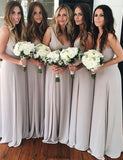 Simple V-Neck Floor-Length Chiffon Bridesmaid Dress - ericprom