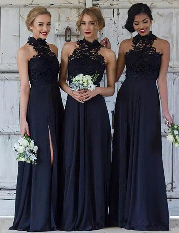 High Neck Long Navy Blue Bridesamid Dress with Split Lace Wedding Party Dress - ericprom