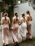 V-Neck Open Back Long Bridesmaid Dress with Ruched Pink Wedding Party Dress - ericprom