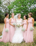 Halter Floor-Length Pink Bridesmaid Dress with Keyhole - ericprom