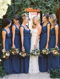 Straps Long Bridesmaid Dress Dark Blue with Ruffles Belt - ericprom