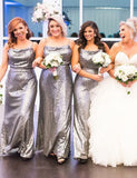 Stunning Sheath Spaghetti Straps Silver Long Sequin Bridesmaid Dress - ericprom