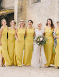 Pretty Crew Sheath Daffodil Long Open Back Bridesmaid Dress with Split - ericprom