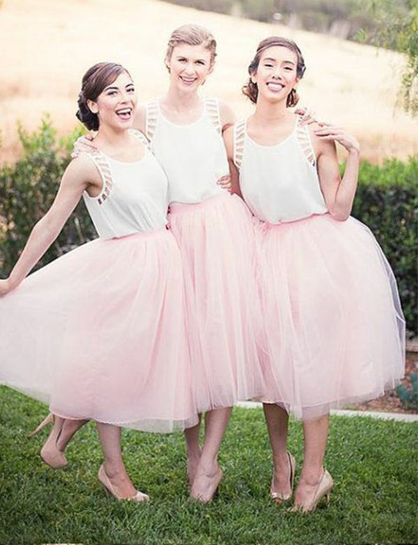 Pretty Two Piece Wedding Party Dress Crew Pink Short Bridesmaid Dress - ericprom
