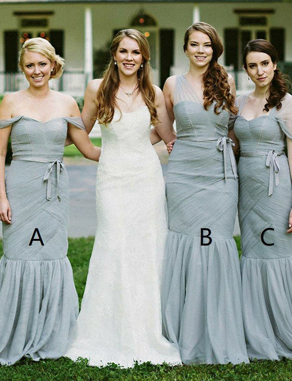 Grey Long Mismatched Bridesmaid Dress with Sleeves Belt Mermaid Wedding Party Dress - ericprom