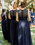 Affordable Plus Size Straps Long Navy Blue Bridesmaid Dress with Beading - ericprom