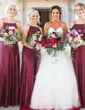 Popular A Line Spaghetti Straps Long Sequin Sleeveless Burgundy Bridesmid Dress - ericprom