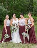 Cheap Plus Size Halter Sleeveless Chiffon Long Maroon Bridesmaid Dress - ericprom