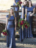 Amazing Navy Blue Sheath Crew Sequin Bridesmaid Dress with Cap Sleeves - ericprom