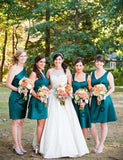 A-Line Chic Sleeveless Turquoise Satin Short Mismatched Bridesmaid Dress - ericprom
