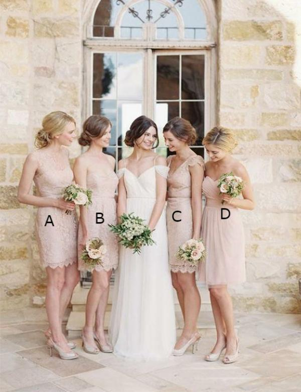 Pretty Sheath Mismatched Sleeveless Lace Pink Bridesmaid Dresses Short Wedding Party Dress - ericprom