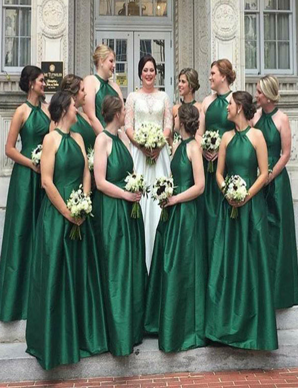 Cheap Simple Halter Sleeveless Satin Green Bridesmaid Dress Long Wedding Party Dress - ericprom