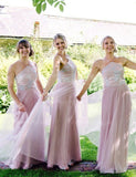 Stunning Halter Sleeveless Long Pink Bridesmaid Dress with Appliques - ericprom