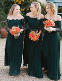 Plus Size Off the Shoulder Chiffon Long Sleeves Dark Green Bridesmaid Dress with Pleats - ericprom