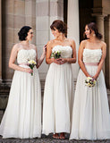 Elegant A-Line Strapless Long Chiffon White Bridesmaid Dress with Appliques - ericprom