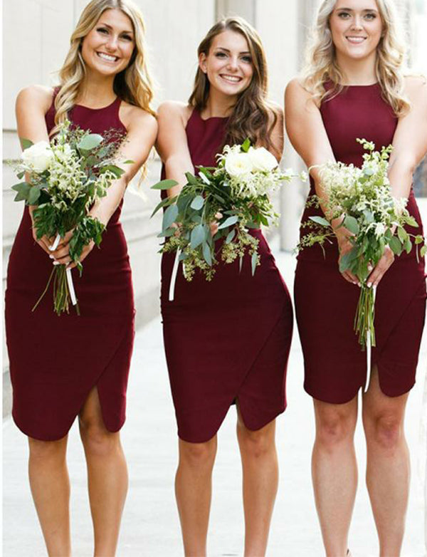 Hot Sheath Jewel Burgundy Bridesmaid Dress with Slit Short Wedding Party Dress - ericprom