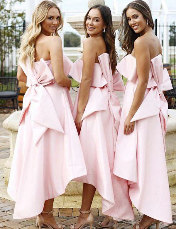 Beautiful Strapless Satin Pink Bridesmaid Dress with Bowknot High Low Wedding Party Dress - ericprom