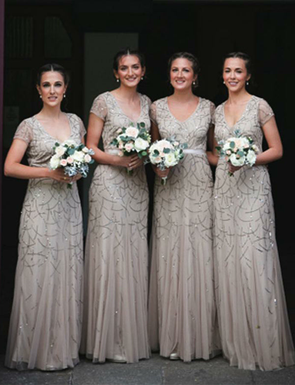 Chic Sheath V-Neck Short Sleeves Light Grey Long Bridesmaid Dress with Sequin - ericprom