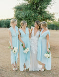 Stunning Plus Size V-Neck Sleeveless Chiffon Light Blue Bridesmaid Dress - ericprom