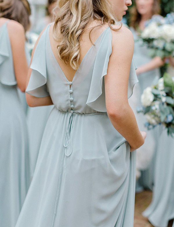 Classy V-Neck Long Chiffon Sleeveless Light Blue Bridesmaid Dress with Ruffles - ericprom