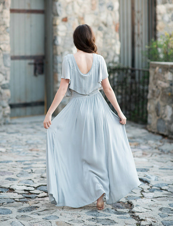 Popular Deep V-Neck Chiffon Light Blue Bridesmaid Dress with Sleeves Belt - ericprom