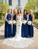 Elegant Chiffon Halter Long Royal Blue Bridesmaid Dress with Pleats Crystal - ericprom